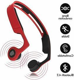 Ear Bone Conduction Headphones  with Mic, Open-Ear Stereo Wi