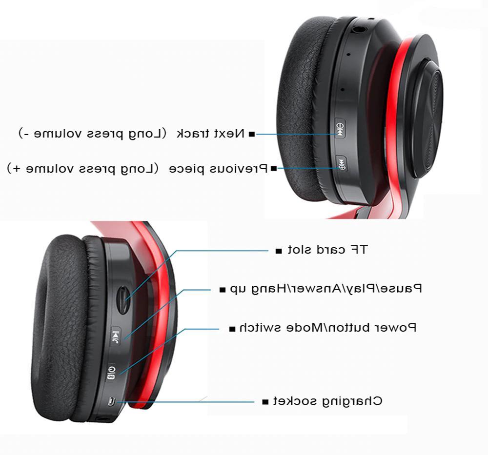 Wireless Headphones Super Bass Foldable Headsets Mic
